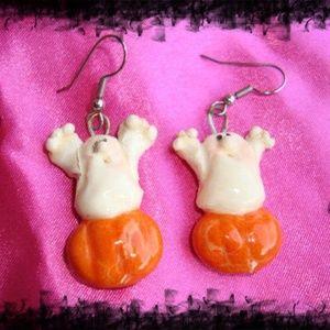 Vintage Halloween Ghost Dangle Earrings